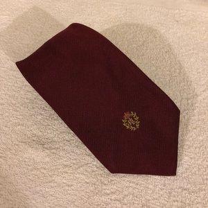 Lauren Ralph Lauren Solid Maroon Crest Tie
